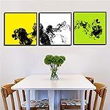 ganlanshu Pintura sin Marco 3 decoración del hogar Arte Abstracto de la Pared Lienzo póster decoración de la Sala de estarZGQ4355 60X60cmx3