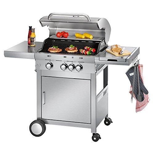 Profi Cook PC-GG 1058 Gasgrill, 3 Edelstahlbrenner + 1 zusätzliche Kochstelle, 3 Heizzonen für individ. Temperatursteuerung, stufenlose Temperatureinstellung, herausnehmbarer Fettauffangbehälter, Temperaturanzeige, Edelstahlfront und -haube, Silber