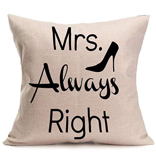 Yilooom Funda de almohada de 55,8 x 55,8 cm, diseño de amor Mr Mrs, algodón y lino, para regalo, decoración del hogar, decoración de boda, funda de almohada decorativa #301