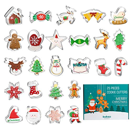 SveBake Emporte Pièces Noël, Cookie Cutters Fondant 25 pièces, emporte-pièce en Acier Inoxydable pour Enfants - père noël, Arbre de Noël, Bonhomme en Pain d'épice, béquilles, Flocon de Neige, Wapiti