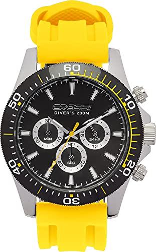 Cressi Nereus Watch Reloj Cronógrafo Submarino Profesional 200 m / 20 ATM, Unisex-Adult, Negro/Amarillo, Un tamaño