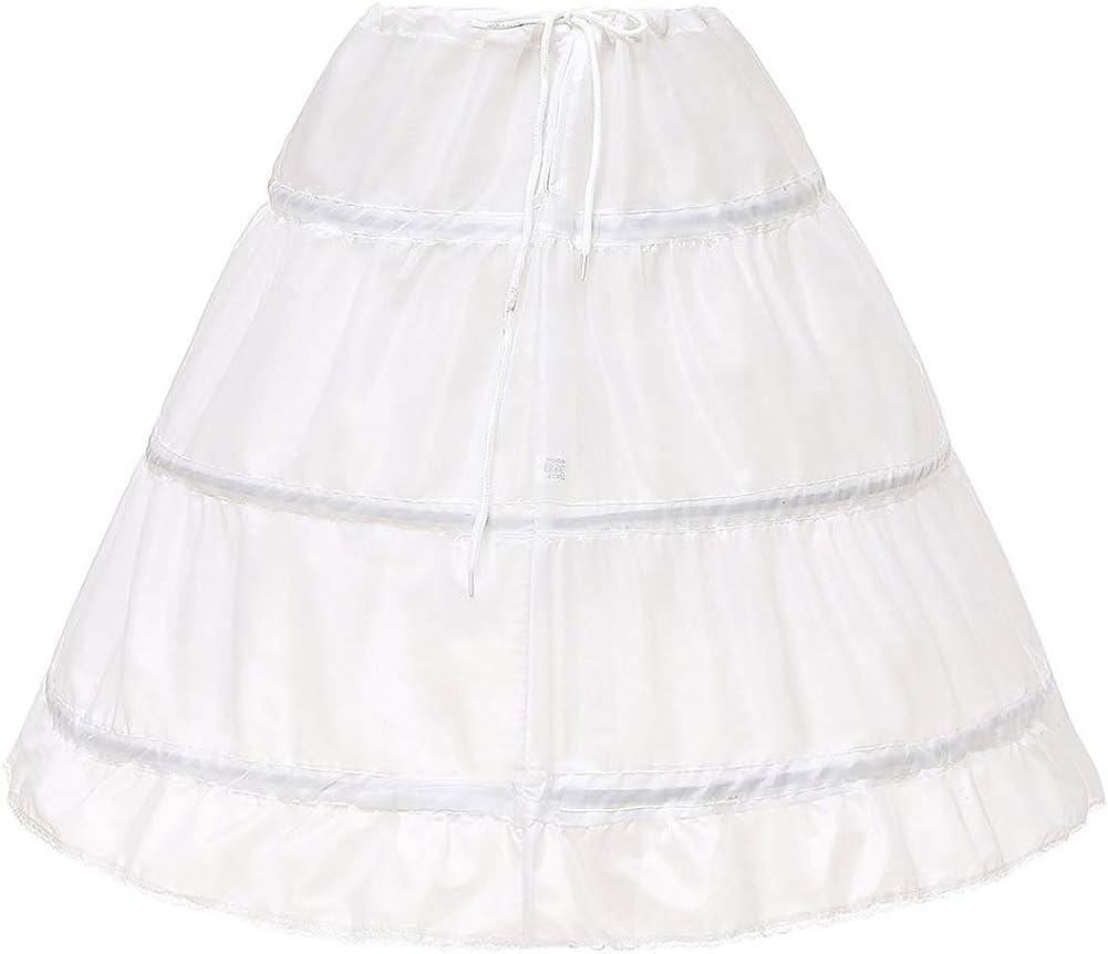 No branded Girl's 3 Hoops Petticoat Full Slip Adjustable Crinoline Underskirt for Flower Girls