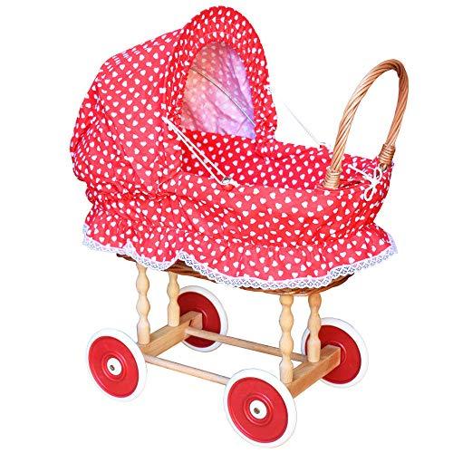 Puppenwagen aus Weide Holz Weidenwagen Kinderwagen Weidenpuppenwagen Herzchen HR