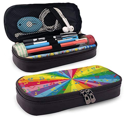 Leather Pencil Case,Colorful Music Notes Zippered Pen Case Stationery Bag Pencil Holder