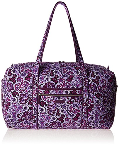Vera Bradley Women's Signature Cotton Large Travel Duffel Travel Bag, Lilac Paisley, One Size