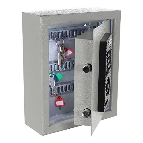ROTTNER Schlüsseltresor Fabio 20 Elektronikschloss - mechanische Notöffnung inkl. 2 Schlüssel - 20 GRATIS Schlüsselanhänger - Schlüsselkasten für 20 Schlüssel - Lichtgrau