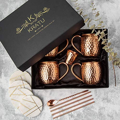 Moscow Mule Copper Mugs 18 oz Set of 4 100 HANDCRAFTED Pure Copper Mugs Cocktail Gift Set 4 product image