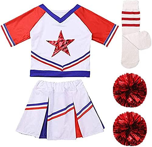 Little Girls Kids Cheer Uniform Sport Dance Crop Top with Skirt Knee Socks Match Pom poms Set Dress Outfits Set 150