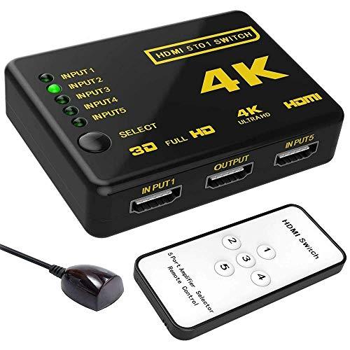 Hdmi Switch 4K, Splitter 5 In 1 Out,Full Hd 1080P Telecomando A Infrarossi Hdmi,Plug E Play,Per Tv/Blu-Ray/Home Theater/Sala Conferenze/Xbox/Ps4