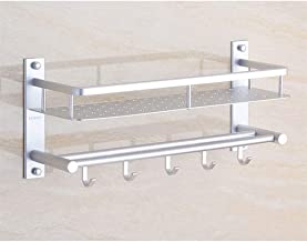 Shower Caddies Basket Aluminum Bathroom Shelves Wall Mounted Storage Rectangular Organiser Shelf 16~24in 1216 (Size : 415mm)