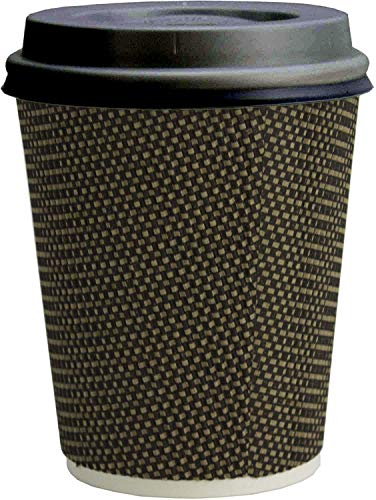 Signature Ripple Hot Cups - Disposable Coffee Cups with Lids for Takeaway Drinks - 50 Cups and 50 Lids - Triple Wall Insulated Paper Cups for Hot Drinks and Leak Proof Lids