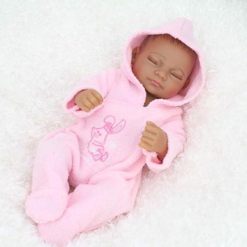 NPKDOLL 28 cm Reborn Baby Puppe lebensechte Simulation Junge mädchen, Schwarz Haut, Weißes Silikon, Handgezeichnetes Haar, kann im Wasser Baden, mit Kleidung Baby Spielzeug Geschenk Girl B