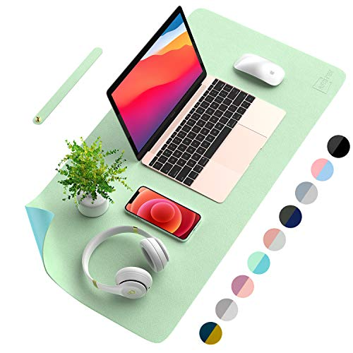 AFRITEE Desk Pad Protector Mat - Dual Side PU Leather Desk Mat Large Mouse Pad Waterproof Desk Organizers Office Home Table Decor Gaming Writing Mat Smooth (Light Green/Greenish Blue, 31.5' x 15.7')