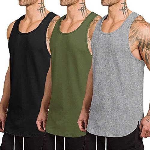 COOFANDY Pack de 3 camisetas sin mangas para hombre, secado rápido, para gimnasio, musculación, fitness, culturismo Negro/Gris/Verde Ejército S