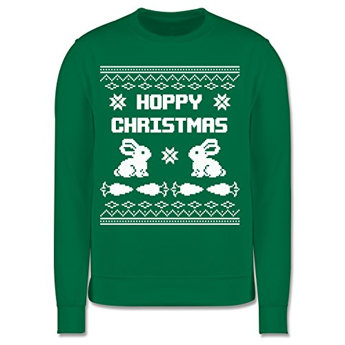 Shirtracer Weihnachten Kind - Ugly Christmas I Hoppy Christmas Hase - 116 (5/6 Jahre) - Grün - Pullover Weihnachten 116 - JH030K - Kinder Pullover