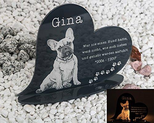 Gedenkstandbild Gedenktafel mit Gravur Fotogravur Grabstein Tiere Herz liegend in 2 Größen Grabschmuck graviert für Haustiere wie Hund Katze & Co. Grabplatte | im Kerzenschein schön leuchtend