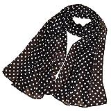 KAVINGKALY Bufandas de lunares de las mujeres de impresión bufanda de seda de gasa bufanda larga de verano ligero abrigo negro (negro + blanco)