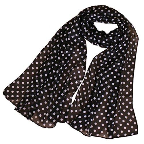 KAVINGKALY Sciarpe a pois donna stampa sciarpa di seta chiffon Leggero estate sciarpa lunga avvolgere nero (nero + bianco)