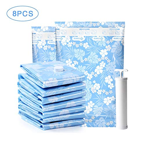 Vacuum Storage Bags - Pack of 8 (2 Large + 4 Medium + 2 Small) Reusable with Free Hand Pump for Travel Packing | Best Sealer Bags for Clothes, Duvets, Bedding, Pillows, Blankets, Curtains