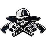 Skull with Guns Patch Embroidered Applique Iron On Sew On Emblem