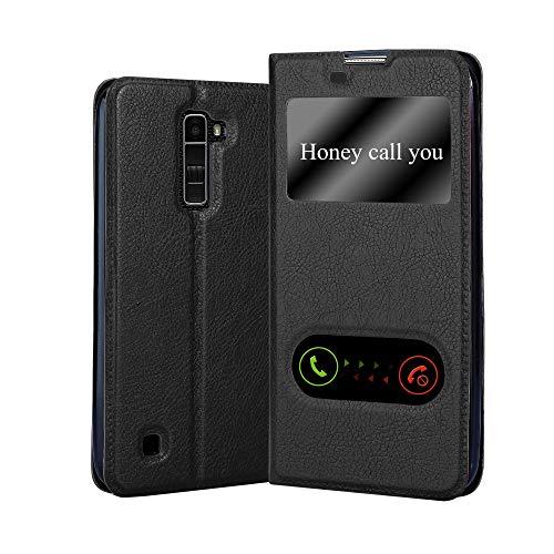 Cadorabo Funda Libro para LG K10 2016 en Negro Cometa - Cubierta Proteccíon con Cierre Magnético, Función de Suporte y 2 Ventanas- View Case Cover Carcasa