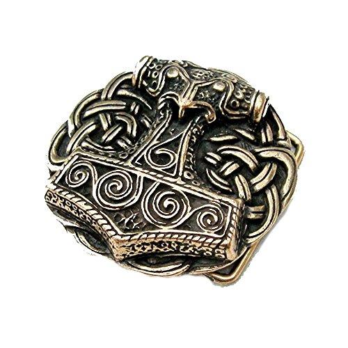 Battle-Merchant Gürtelschnalle - Thorshammer aus Schonen - Wikinger - Thor - Odin - Hammer Farbe Bronze