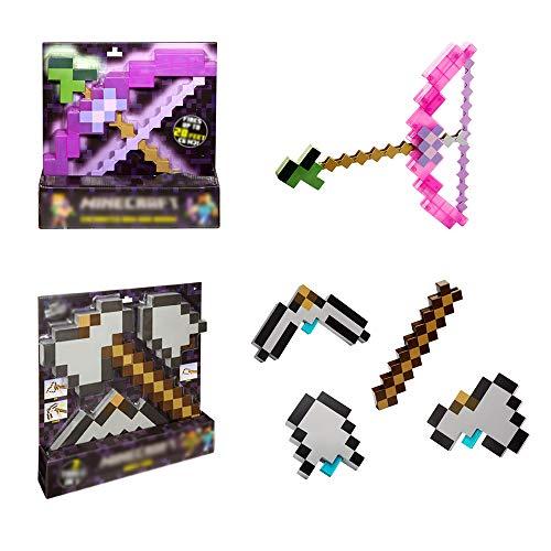 Toy Pixel Mosaik Pfeil Und Bogen Spielzeugset, 3 In 1 Verwandelndes Schaufelbeil Und Spitzhackenspielzeug Multifunktionswerkzeug, Kindergeburtstagsfeier-Abenteuerset, Für Jungen Und Mädchen