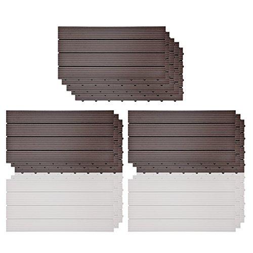 SIENOC 11 Stück/ca. 2m² WPC Terrassenfliesen |Terrassendielen 60x30 cm | WPC DIY Fliesen Holz Kunststoff Composite Outdoor Bodenbelag | Antikorrosion | (11 Stück / 2 m²) Dunkelbraun