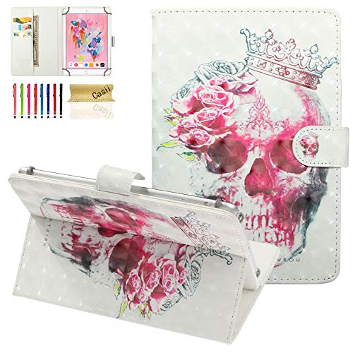 """Universal Case for 10 Inch Tablet, Casii Slim Magnetic 3D Cover for 9.5""""-10.5"""" iPad Air 1/2/3,iPad 5th/6th Gen,iPad Pro 10.5,Galaxy Tab A 10.1/Tab E 9.6/Tab S5e 10.5,Fire HD 10 Tablet, Crown Skull"""