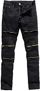 Rexcyril Men's Moto Biker Jeans Distressed Ripped Skinny Destroyed Slim Fit Denim Pants with Zippers