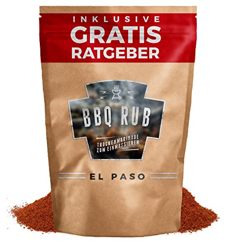 BBQ Rub El Paso 270g | Trockenmarinade für Pulled Pork & Spareribs inkl. Gratis Ratgeber | Gewürzmischung Grillgewürz Barbecue Marinade Grill Gewürz