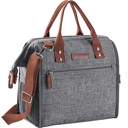 100% Leakproof Lunch Bag, Stylish and Easy to Clean Insulated Lunch Bags for Women/Men, Large Capacity Cooler Lunch Box Keeps Foods Cold/Warm for Office Work/School/Picnic (Gray)