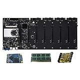 RTYU Fit for Placa Base minera 8CPU Bitcoin Crypto Etherum Mining con 4 / 8GB DDR3 128GB MSATA SSD 10X8pin Cable de alimentación(Color:BTC-D37 8GB DDR3)