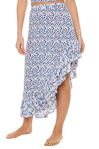 Beachgold Women's Wovens Clover High Low Skirt Swim Cover Up Bleu Aura XS