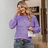 QINGNIU Suéter, Otoño E Invierno para Mujer Elegante Suéter De Pompón De Piel Manga De Linterna Suéter De Punto Mujer Streetwear Pullover Púrpura