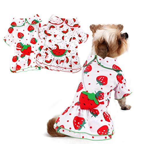 HYLYUN Dog Summer Dress 2 Pieces - Cute Strawberry and Watermelon Pattern Puppy Dress Skirt for Small Girl Dogs in The Summer XX-Large