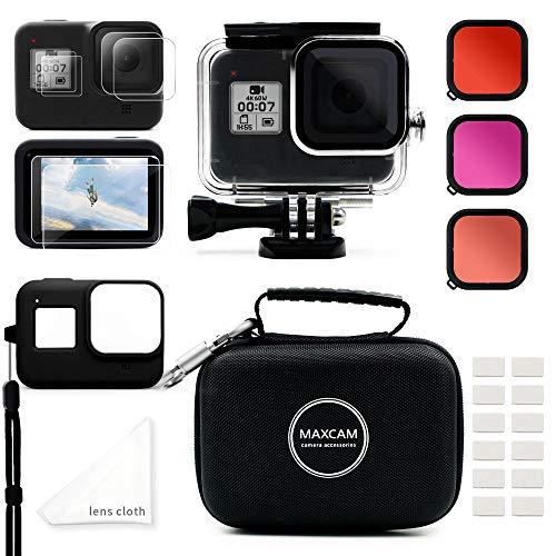 MAXCAM Zubehör-Set für GoPro Hero 8, schwarz, inkl. wasserdichtem Gehäuse + Displayschutzfolie aus gehärtetem Glas + Schutzhülle + Hülle + Schnorchelfilter + Anti-Beschlag-Einsätze für GoPro Hero 8