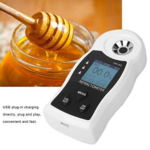 Zuckermessgerät, 0-55% digitales USB-Brix-Messgerät mit LCD-Display, wasserdichtes Handmessgerät zur Messung des Zuckergehalts für Zucker, Lebensmittel, Obst, Getränke, Honig, mit ATC-Funktion