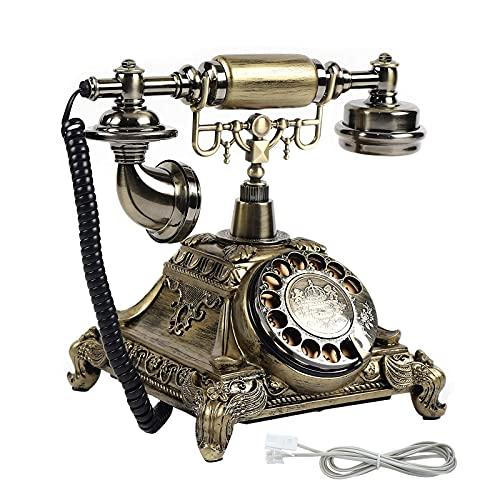 Teléfono de esfera giratoria vintage, teléfono fijo retro con botón y campana de metal clásica, teléfono con cable para decoración del hogar y del hotel