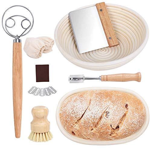Bread Proofing Basket Set, 10 Inch Round &10 Inch Oval Sourdough Bread Basket Natural Rattan Basket for Sourdough with Dough Whisk, Dough Scraper, Bread Lame, Cloth Liner, Firm-bristled Cleaning Brush