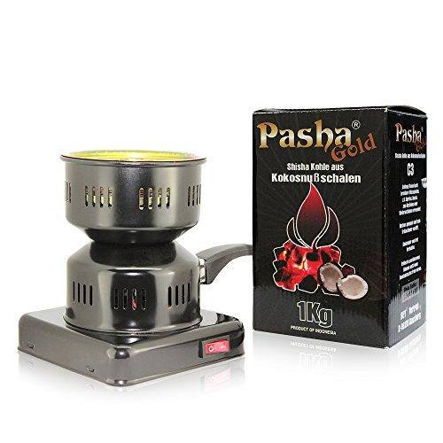 Toker Shov Kohlenanzünder Shisha (Schwarz) + Pasha Gold Kohle 1KG Paket