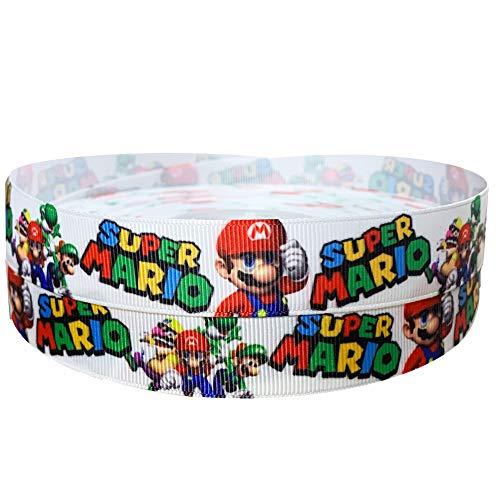 Nintendo Super Mario Yoshi Luigi 2 m x 22 mm breit für personalisierte Geburtstagskuchen-Dekoband & Dekorationsideen für Geschenkpapier, Schleifen, Aufsätze für Tüten Box Ballon String Karten Kunst