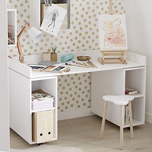 Alfred & Compagnie Bureau sur rangements 133x65 blanc