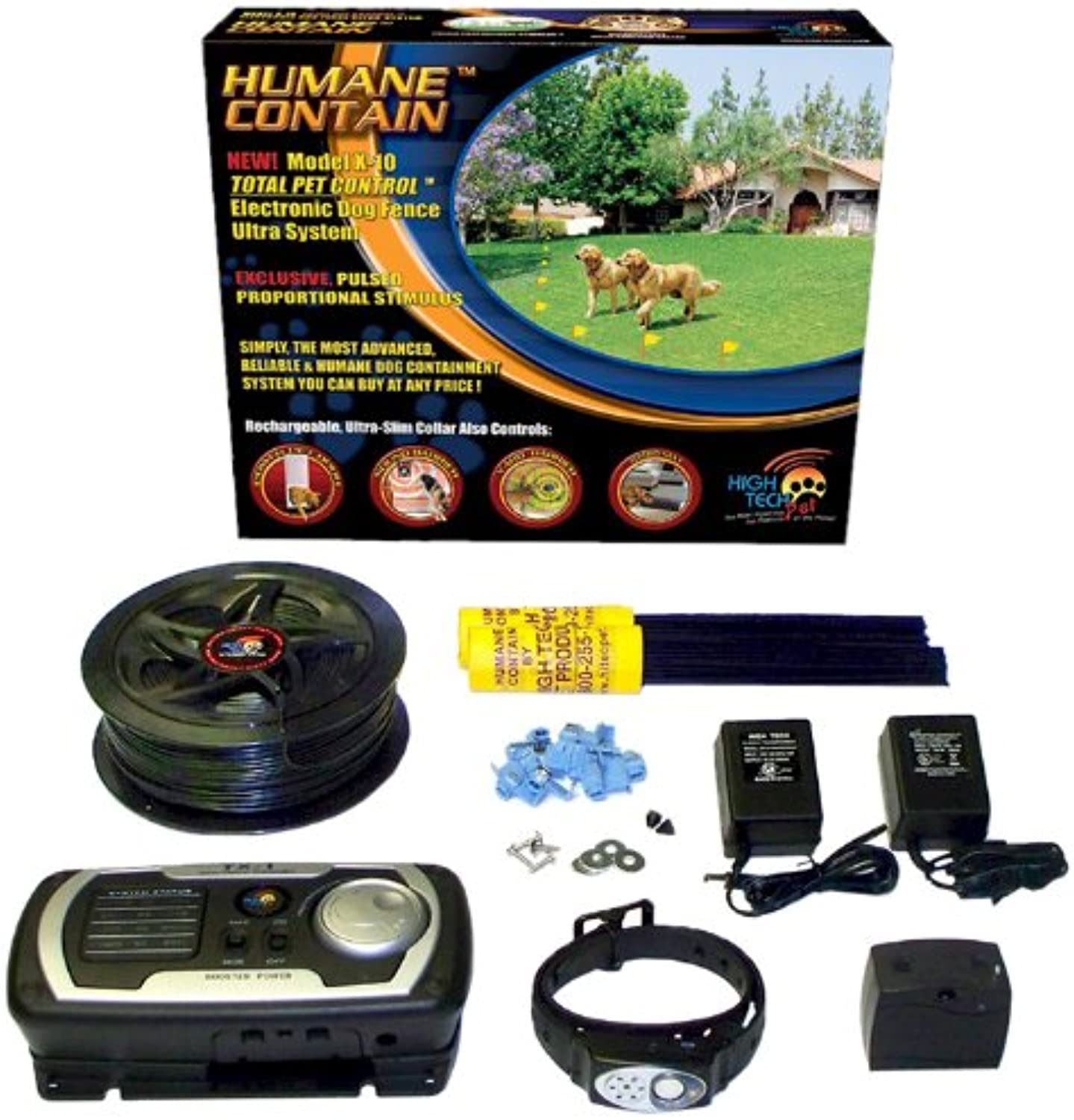 High Tech Pet Humane Contain X10 Rechargeable Multifunction Electronic Dog Fence
