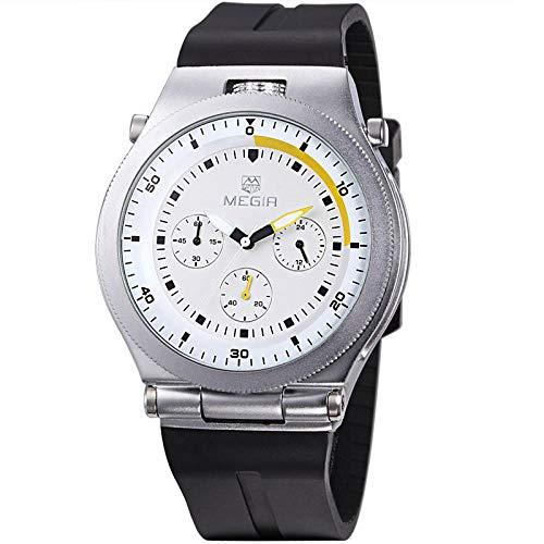 Reloj para Hombre Reloj de Cuarzo analógico Resistente al Agua Acero Inoxidable con Correa de Metal -B