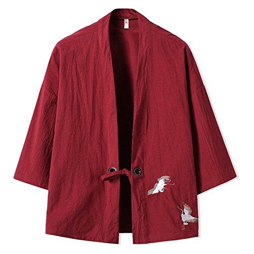 Fancy Pumpkin Chaqueta Fina de los Hombres Chinos Retro Kimono japonés Robe Bordado Coat-Wine