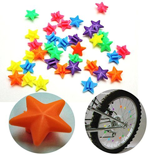 Land-Haus-Shop Speichenclip Sterne SET 36 Stück , versch. Farben, 36x Speichen Clips Klicker