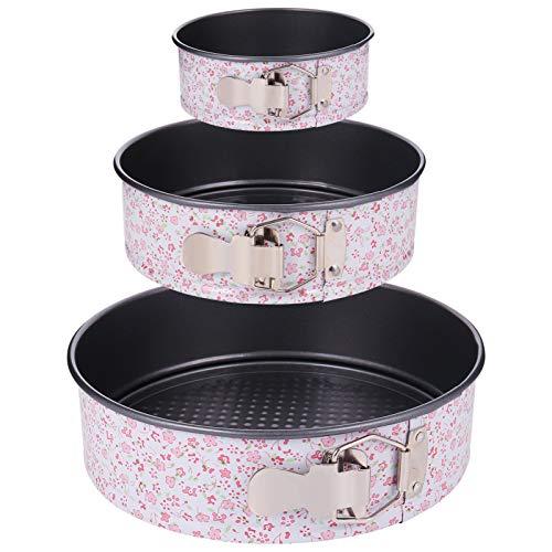 fanshiontide 3 Stück runde Backform Kuchenform antihaftbeschichtet Backblech (22 cm/18 cm/12 cm) mit Bonus-Messbechern und Messlöffeln für Zuhause und Küche zum Backen.