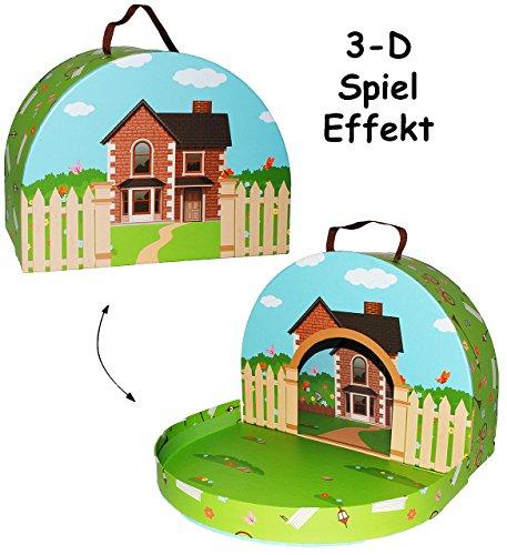 alles-meine.de GmbH Kinderkoffer -  Haus / Bauernhof  - zum Spielen - Pappkoffer - Puppenkoffer Koffer Kinder - Pappe Karton - Spielekoffer - groß - ideal für Spielzeug und als..