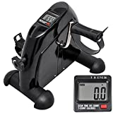AW Seat Pedal Exerciser Under Desk Elliptical Pedal Machine Mini Exercise Bike Home Office Use LCD Monitor Black